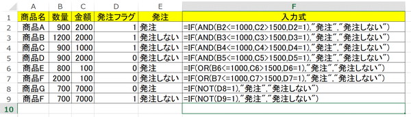 AND、OR、NOT関数の使い方2